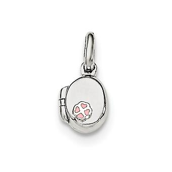 925 Sterling Silver Pink Enamel Oval Flower Locket Pendant - 1.4 Grams