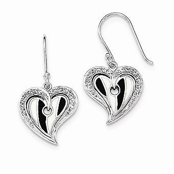 925 sterling sølv poleret hjerte med sort og hvid emalje cubic zirconia øreringe
