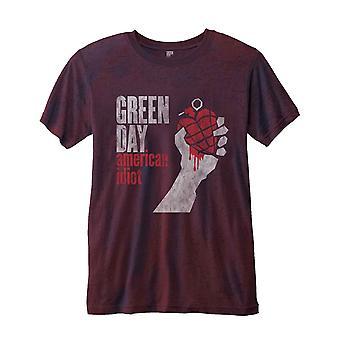 Green Day T Shirt American Idiot Vintage Album Official Mens Burnout slim fit