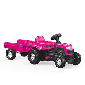 Dolu Kids Childen's Ride On Pink Tractor Con Trailer