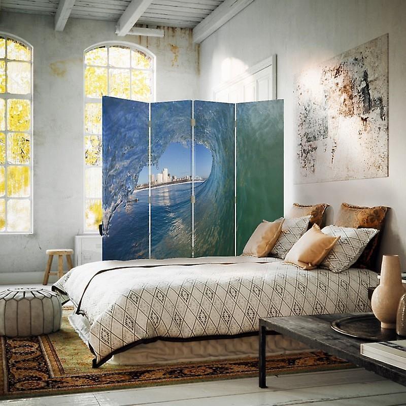 Diviseur de chambre, 4 panneaux, double-sided, toile, vague surplombant la ville