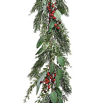 1.75m Artificial Pine, Greenery and Berries Christmas Garland