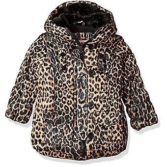Urban Republic Girls' Toddler Long Puffer Jacket, Brown/Leopard, 2T