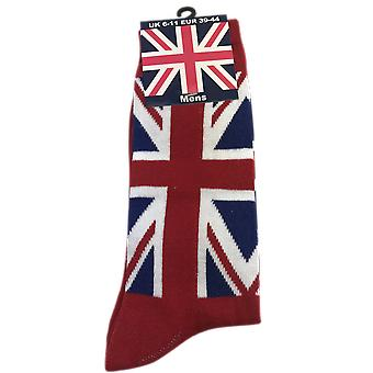Mens Union Jack sok rood maat 6-11 (UK)
