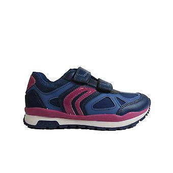 Geox Pavel J848CA Navy/Pink Girls Rip Tape Trainers