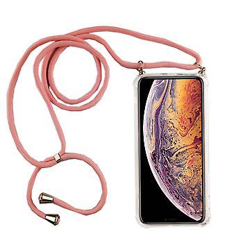 Telefon halsband för Apple iPhone XR-smartphone halsband fodral med band-sladd med fodral att hänga i rosa