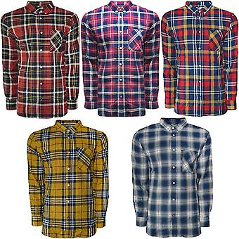 Lambretta Mens Long Sleeve Button Collar Casual Check Cotton Lumberjack Shirt
