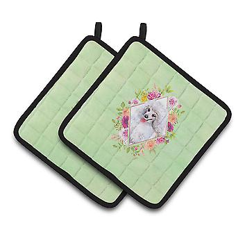 White Mini Poodle Green Flowers Pair of Pot Holders