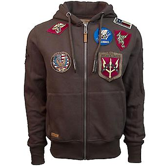Top Gun Mens Zip Up Hoodie With Patches Brown