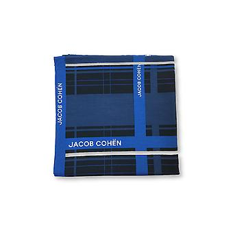 Jacob Cohen Pocket Square in navy/blue/white block design