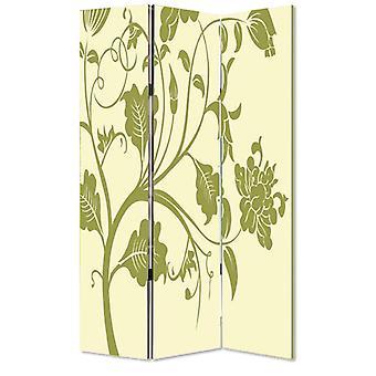 3 separator cameră panou cu tulpini și floare model, smântână și verde
