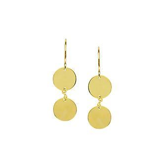 14k Yellow Gold 9mm Dangle Double Disc Boucles d'oreilles Animal Sealife Fish Hook Bijoux Bijoux pour les femmes