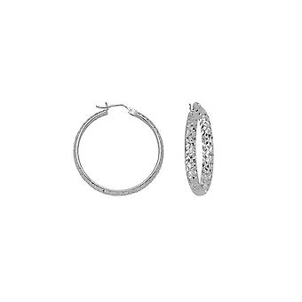 10k White Gold Sparkle Cut Hoop Earrings Measures 3x30mm Jewelry Gifts for Women - 1.8 Grams