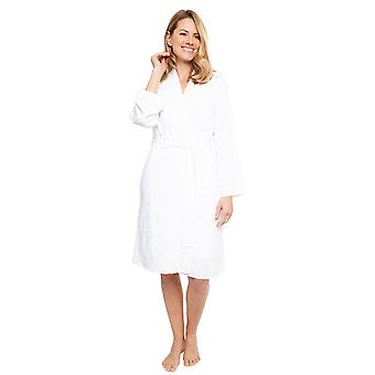 Cyberjammies 1372 Women's Nora Rose Portia White Leaf Print Modal Embroidered Short Robe