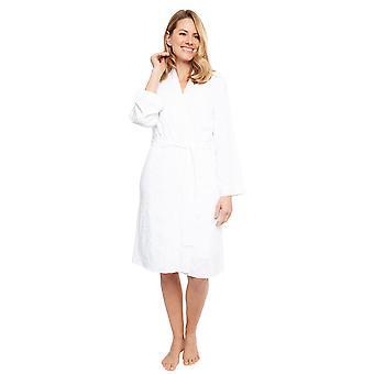 Cyberjammies 1372 Women's Nora Rose Portia White Leaf Print Modal Geborduurdkorte Robe