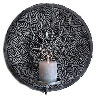 Majas Cottage Wall light holder Mandala Grey 35 cm