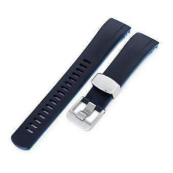 Strapcode المطاط ووتش حزام 22mm crafter الأزرق - ثنائي اللون الأسود والأزرق المطاط المنحني حزام مشاهدة العروة لseiko الساموراي srpb51