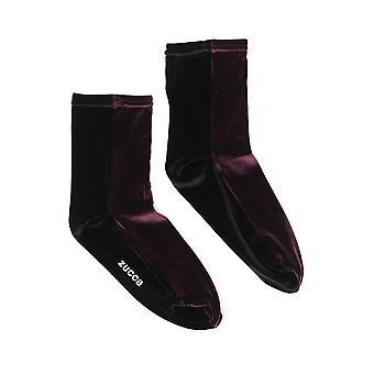 Zucca Zu99ai21622 Women's Burgundy Velvet Socks