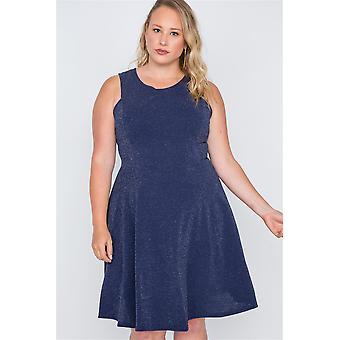 Plus size sleeveless a-line evening dress