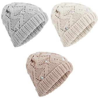 Womens/Ladies Cable Knit Winter Beanie Hat With Plastic Jewel Detail