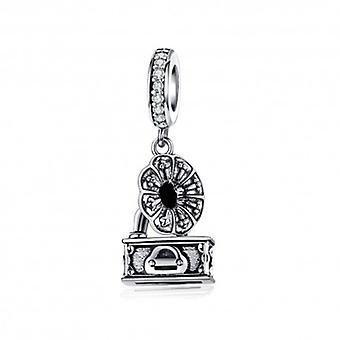 Sterling Silver Pendant Charm Retro Gramophone - 6437