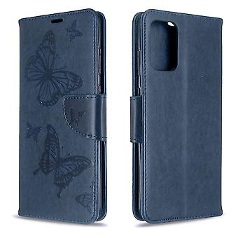Für Samsung Galaxy S20 Ultra Fall, Schmetterlinge Muster PU Leder Brieftasche Abdeckung mit Stand & Lanyard, blau
