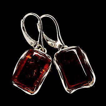 "Baltic Amber Earring 1 1/2"" (925 Sterling Silver)  - Handmade Boho Vintage Jewelry EARR400311"
