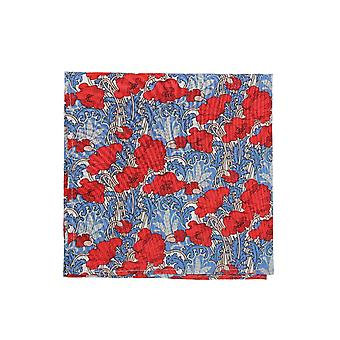 Red & Blue Liberty Art Fabric Floral Print Pocket Square