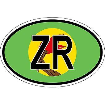 ملصقا بيضاوي البيضاوي العلم البلد رمز ZR زائير