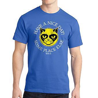 Grumpy Cat Nice Day Men's Royal Blue Funny T-shirt