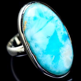 Large Larimar Ring Size 9.5 (925 Sterling Silver)  - Handmade Boho Vintage Jewelry RING5745