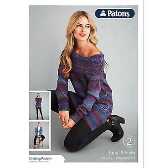 Patons Knitting Pattern - Colour Mix DK Ladies Sweater & Jacket
