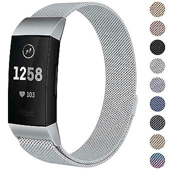Für Fitbit Charge 4 /Charge 3 Strap Milanese Armband Edelstahl magnetic[Small (5.3