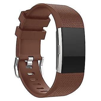 Replacement Wristband Bracelet Strap Band for Fitbit Charge 2 Classic Buckle[Brown,Large] BUY 2 GET 1 FREE