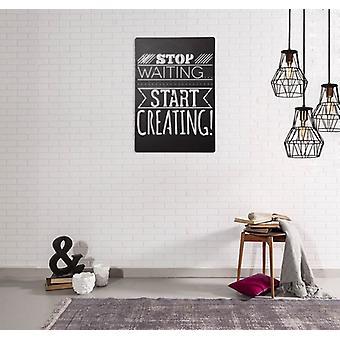 Frases de decoração de parede Aço de cor preta 32x0.15x47 cm