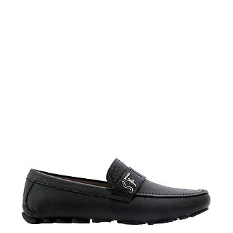 Salvatore Ferragamo 0736547 Heren's Black Leather Loafers