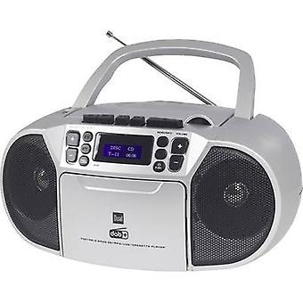 Dual DAB-P 210 Boombox Radio cassettespeler DAB+, FM CD, Tape, AUX Silver