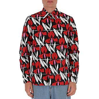 Prada Ucn3141xvkf0011 Männer's rote Baumwolle Shirt