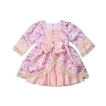 New Princess floral bowknot ruffles dress