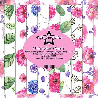 Paper Favourites Watercolour Flowers 12x12 Inch Paper Pack