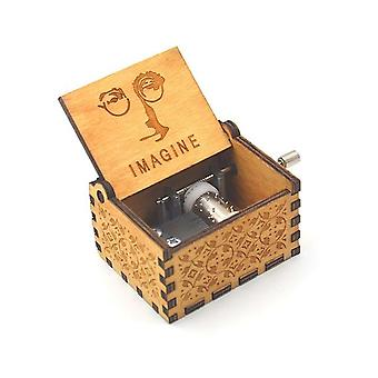 John Lennon Imagine - Hand Kurbel antike Holz Musik-Box