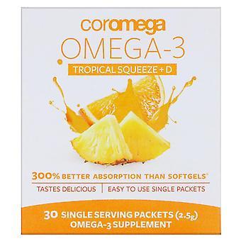 Coromega, Omega-3 Squeeze + Vit D, Tropical Orange, 30 Single Serving Packets, 2