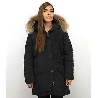 Long Parka Winter coat - With Fur Collar - Black