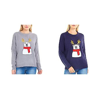 Brave Soul Womens/Ladies Polar Bear Christmas Jumper