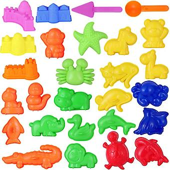 27pcs Sand Molding Building Kits Kid's Summer Beach Sand Toys Sand Play Set With Castle Animal Sand Molds and Tools