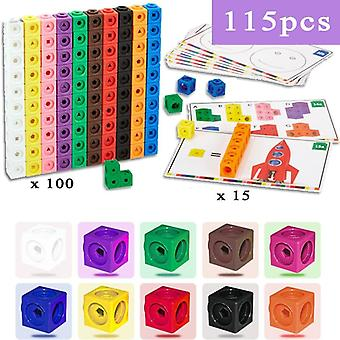 Graphics Math Link Geometric Counting Cubes Snap Blocks Building Kit For Kids Early Education