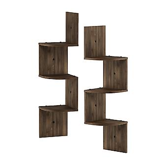 Furinno 3 Tier Wall Mount Floating Corner Radial Shelf, Set of 2, Columbia Walnut