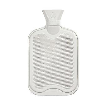 Hot Water Bottle - Classic Short Ribbed Rubber Bottle with Screw Stopper - 2 Litres - Cream