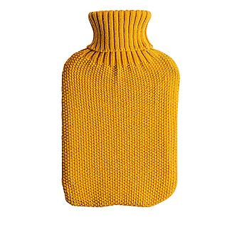 Nicola Spring Hot Water Bottle Knitted Cover - Cosy Turtleneck Sleeve - Fits Standard 2L Bottles - COVER ONLY - Mustard