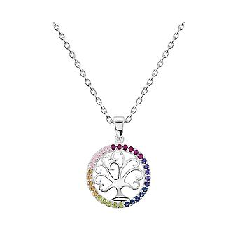 Dew Sterling Silver Round Tree Of Life Multi Cubic Zirconia Pendant 9881MCZ
